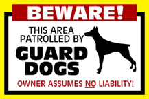 Yard Sign Template for Beware Patrolled by Guard Dogs