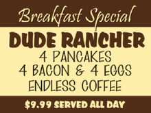 Yard Sign Template for Breakfast Special Dude Rancher Pancakes