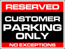 Yard Sign Template for Reserved Customer Parking Only