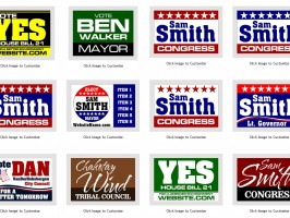 Several Political Campaign Election Signs