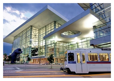 Photo of Colorado Convention Center with Blue Bear and Train