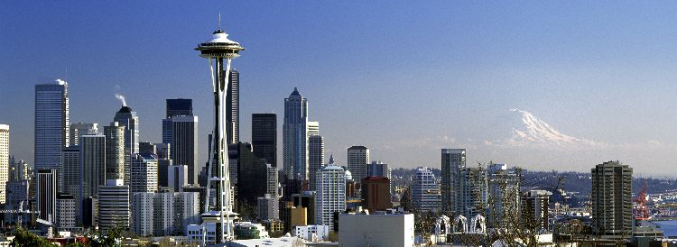 Photo of Downtown Seattle with Space Needle and Mount Rainier