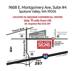 Photo map to Low Cost Signs - Spokane.  9608 E Montgomery Ave, Suite #4, Spokane Valley, WA 99206