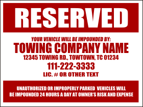 Customize this design template in sign editor for Reserved parking signs template